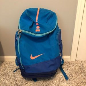 Nike elite pro backpack in blue and coral details